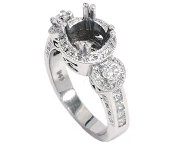 1ct Diamond Antique 3 Stone Ring Solid 14K White Gold