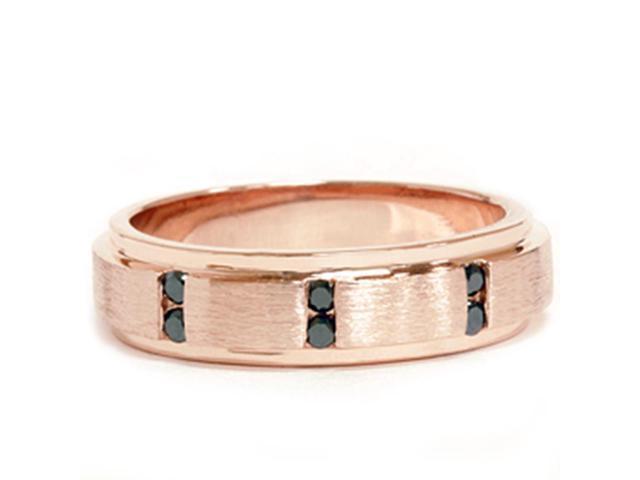 1/8ct Mens Rose Gold Brushed Treated Black Diamond Wedding Ring 14k