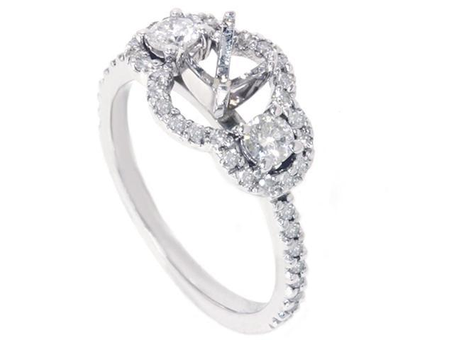 3/4ct 3 Stone Diamond Ring Setting 14K White Gold