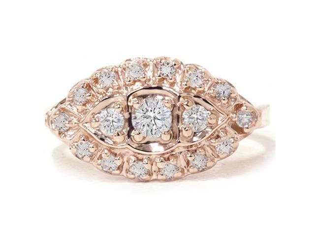 1/2ct Antique Diamond Ring 14K Rose Gold Vintage Anniversary Engagement Unique