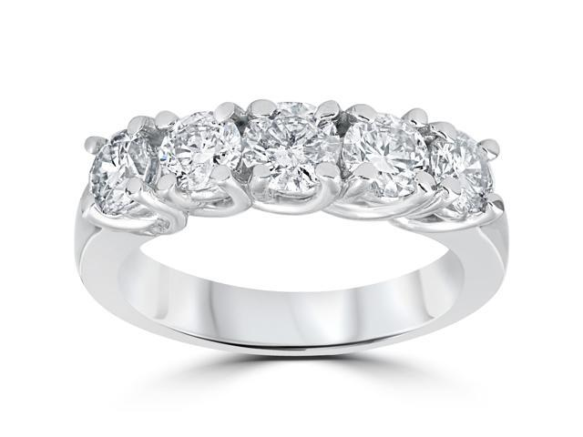 1 1/2ct Real Diamond Wedding Anniversary White Gold Ring