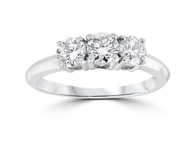 1 Carat 3-Stone Diamond Engagement Ring Solitaire Round Cut 14k White Gold