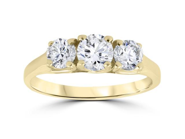 1ct 3-Stone Diamond Solitiare Round Engagement Ring 14K Yellow Gold
