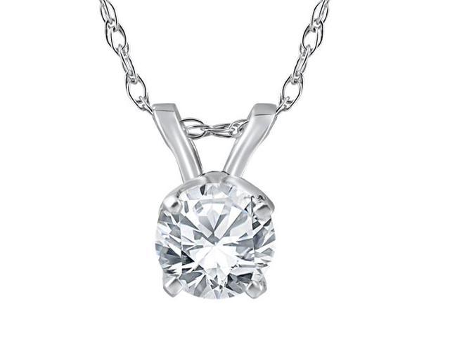 3/4 ct Round Solitaire Diamond Pendant & 18