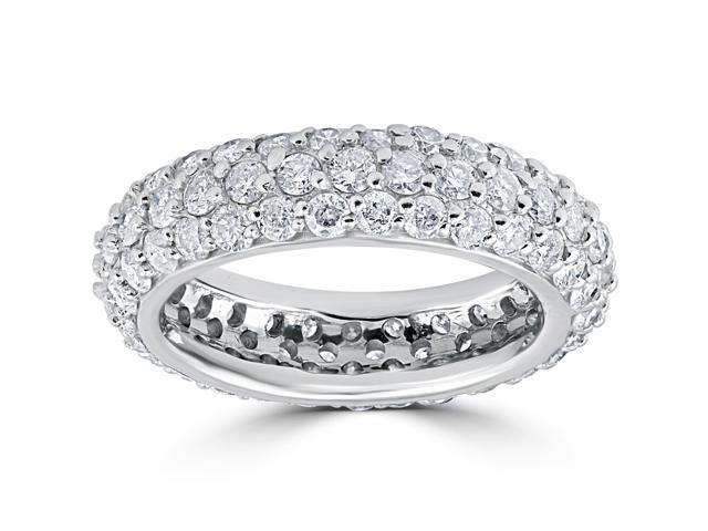 2 1/6ct Pave Diamond Eternity Wedding Anniversary Ring 14k White Gold