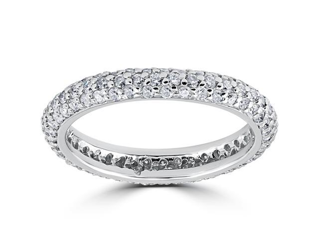 1 1/10ct Pave Diamond Eternity Ring 14K White Gold