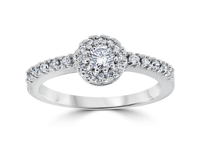 3/4ct Diamond Engagement Halo White Gold Wedding Ring