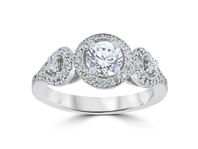 1ct Diamond Engagement Ring Three Stone Pave Halo Ring 14K White Gold