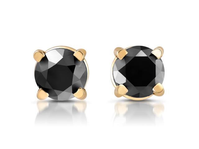14k Yellow Gold 1/4ct Round Cut Black Diamond Studs