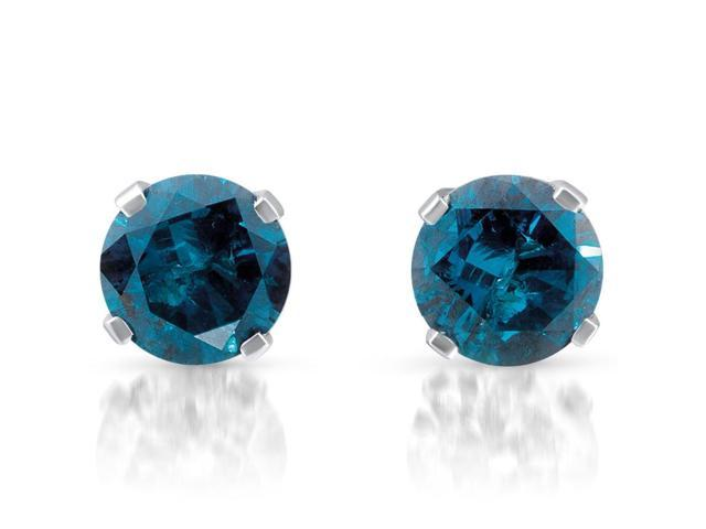 1/3ct Treated Blue Diamond Studs 14 Karat White Gold