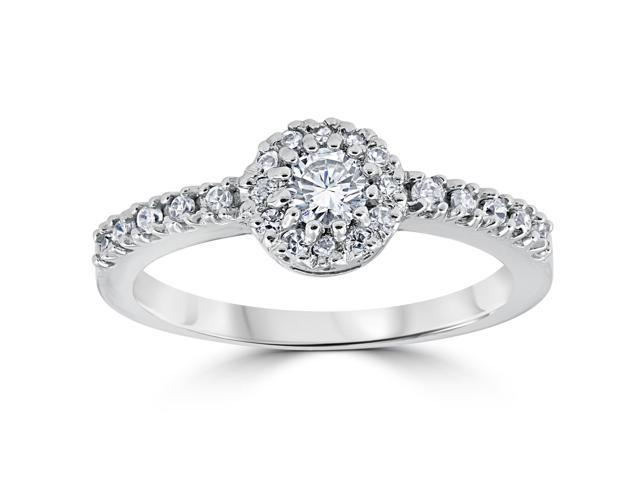G SI 5/8 ct Pave Halo Diamond Engagement Solitaire Enhanced Ring 14K White Gold