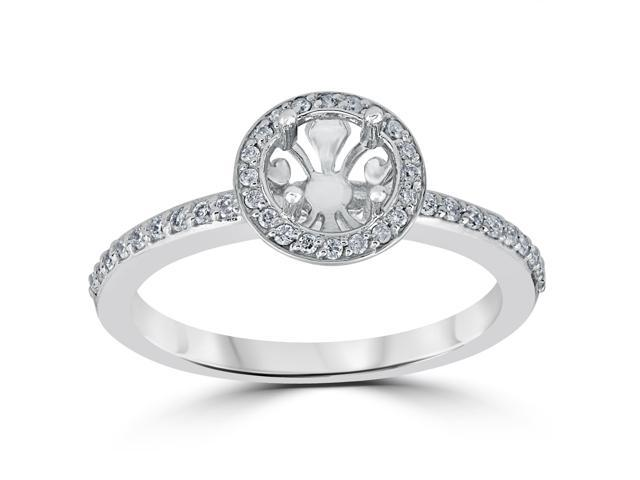 1/3ct Diamond Engagement Ring Semi Mount 14K White Gold Setting