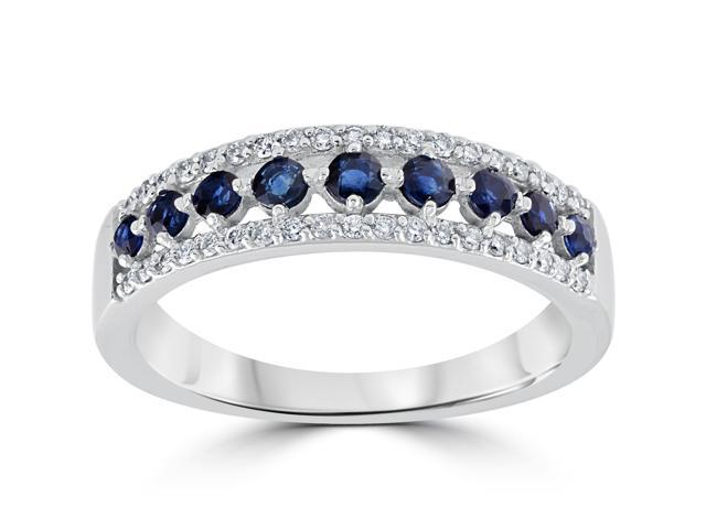 5/8 cttw Blue Sapphire & Diamond Wedding Ring Womens Band 14k White Gold