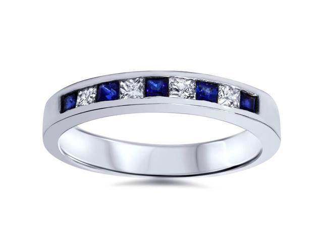 1/2 ct Princess Cut Blue Sapphire & Diamond Wedding Ring 14k White Gold