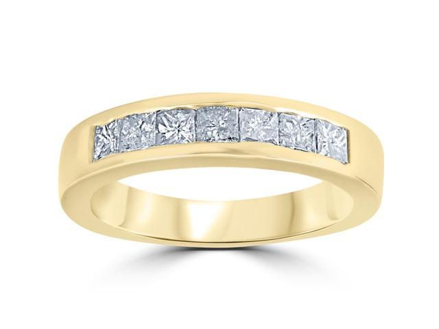 1ct Princess Cut Diamond Wedding Anniversary Ring 14k Yellow Gold