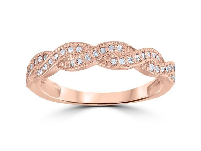 1/8ct Pave Diamond Wedding Ring 14K Rose Gold