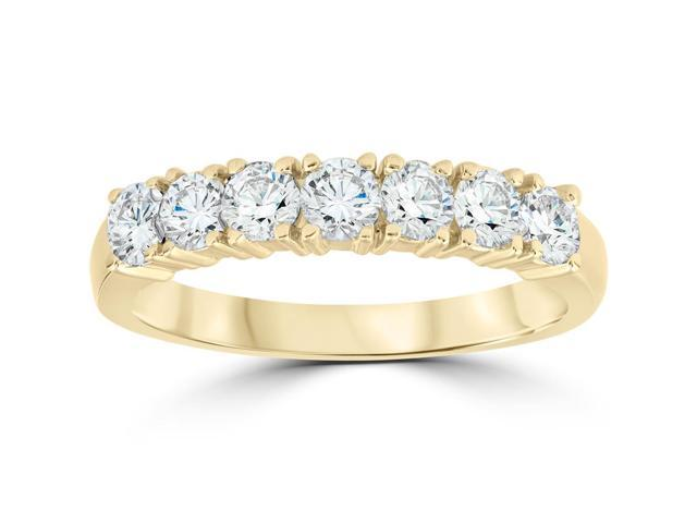 1ct Diamond Wedding Ring Anniversary 14k Yellow Gold 7-Stone Womens Band