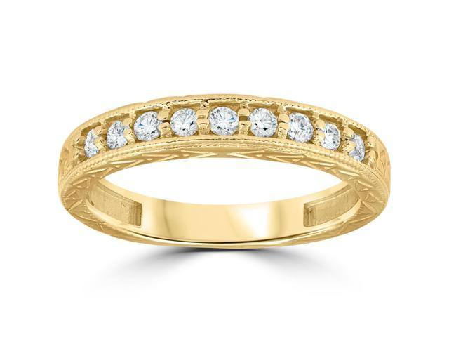 14k Yellow Gold 1/4ct Diamond Vintage Anniversary Wedding Stackable Ring Antique