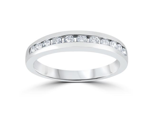 1/3ct Channel Set Diamond Wedding Ring Solid 14K White Gold