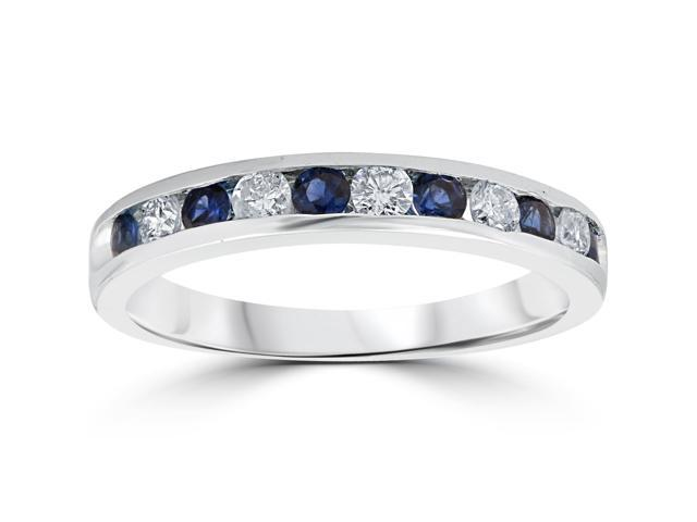 3/4ct Blue Sapphire & Diamond Channel Set Wedding Stackable Ring 14K White Gold