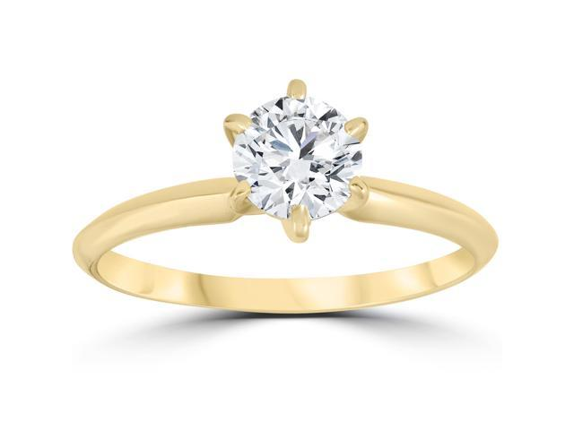 14k Yellow Gold 3/4ct Round Solitaire Diamond Engagement Ring