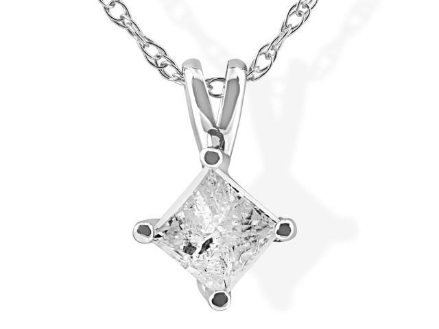 1/3Ct Princess Cut Solitaire Natural Diamond 14K White Gold Pendant & Chain