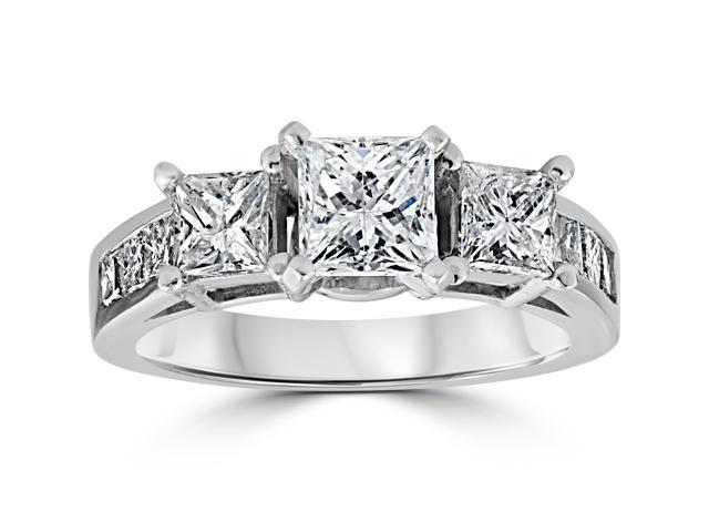 2ct Princess Cut Engagement Enhanced Diamond 3-Stone Channel Ring 14K White Gold