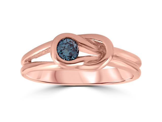1/5ct Knot Treated Blue Diamond Solitaire Promise Ring 14K Rose Gold