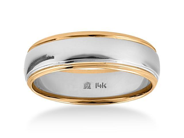 Mens 14k Gold Two Tone 6mm Plain Comfort Wedding Band