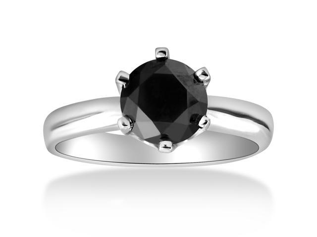 1ct Round Treated Black Solitaire Diamond White Gold Engagement Ring