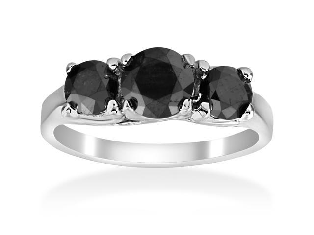 2 1/3ct Treated Black Diamond Three Stone Ring 14K White Gold