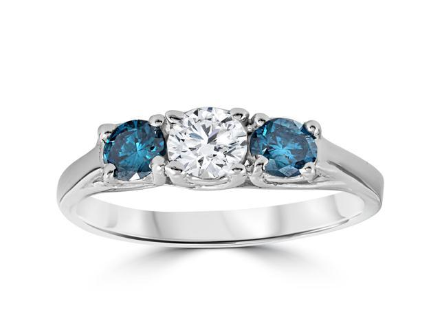 3/4ct 3 Stone Treated Blue White Diamond Trellis Engagement Ring 14K White Gold