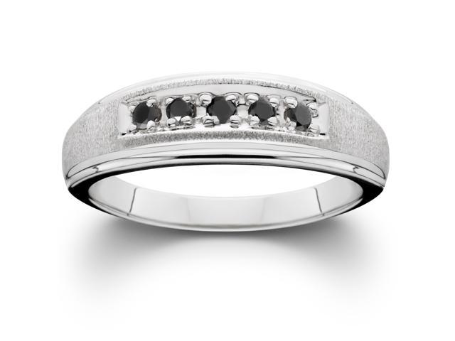 Mens Black Diamond Wedding Anniversary Brushed Ring 14K White Gold