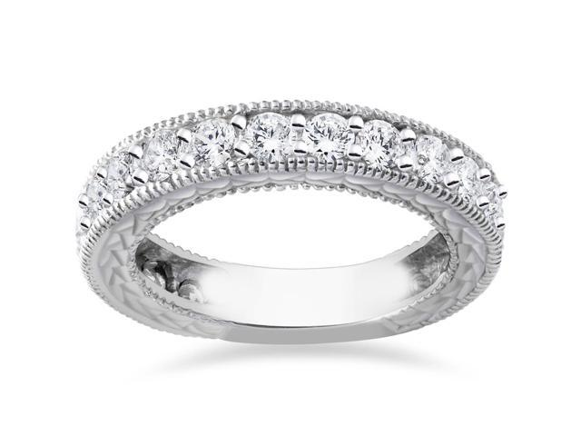 1 5/8ct Natural Diamond Anniversary Wedding Ring Vintage Style 14K White Gold