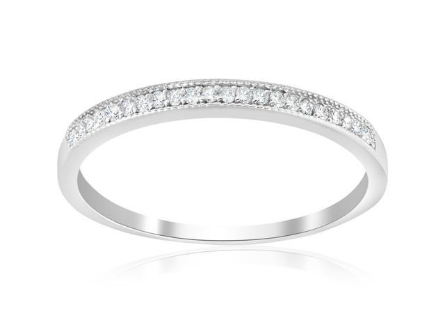 1/8ct Diamond Stackable Wedding Anniversary Milgrain Vintage Ring 14K White Gold