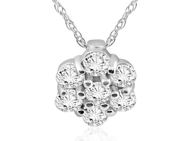 1/2ct Pave Fire Diamond Halo Pendant 14K White Gold Womens Solitaire Jewelry