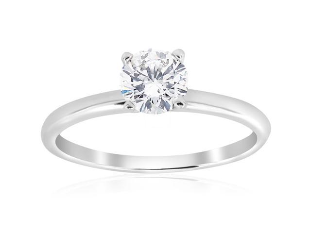 5/8ct Solitaire Round Diamond Engagement Ring 14K White Gold Brilliant Jewelry