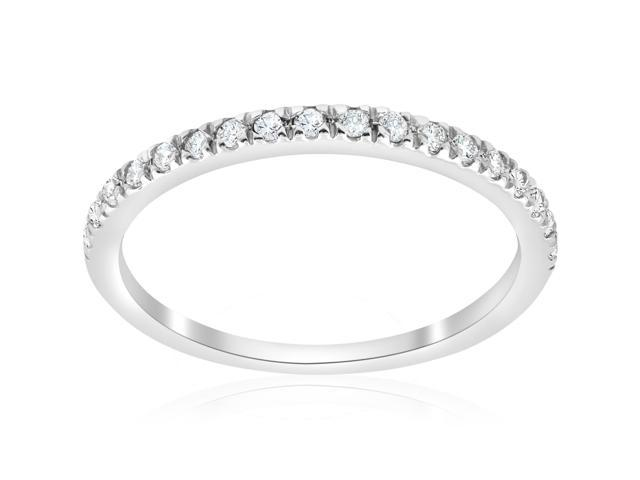 1/3 ct Pave Diamond Wedding Pave Ring Womens Stackable Band 14K White Gold