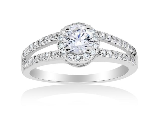 1 ct Halo Round Diamond Engagement Ring 14K White Gold Brilliant Cut Solitaire