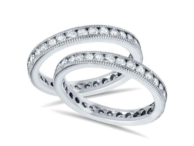 3ct Diamond Eternity Milgrain Wedding Ring Guard Stackable Enhancer Band Set