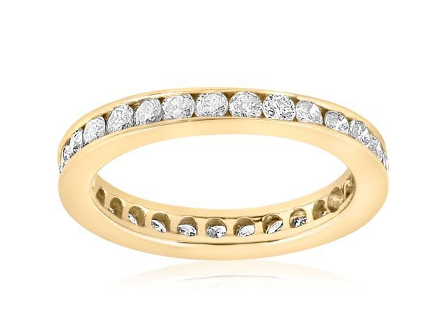 1ct Diamond Wedding Eternity Stackable Ring 14k Yellow Gold Channel Set Genuine