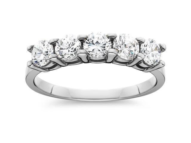 1ct Five Stone Genuine Round Diamond Wedding Anniversary Ring 14K White Gold