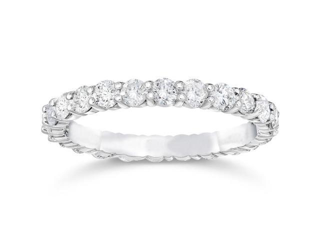 1 1/2ct Prong Diamond Eternity Ring 14K White Gold Womens Stackable Band