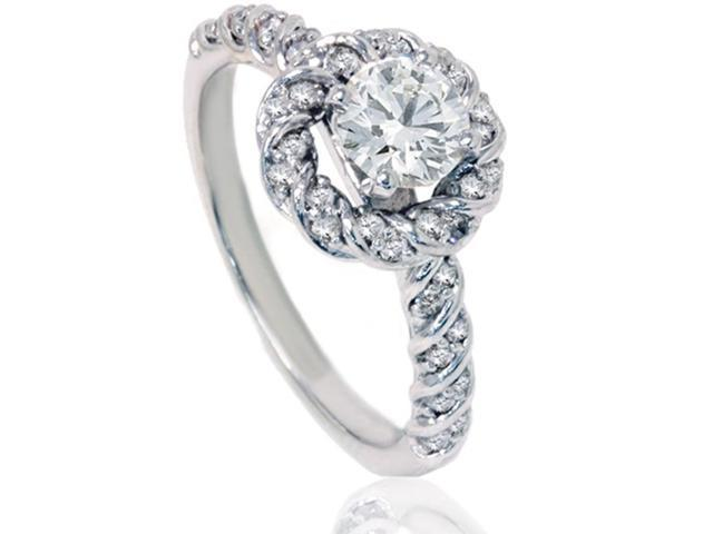 1 1/10ct Diamond Halo Engagement Ring 14K White Gold