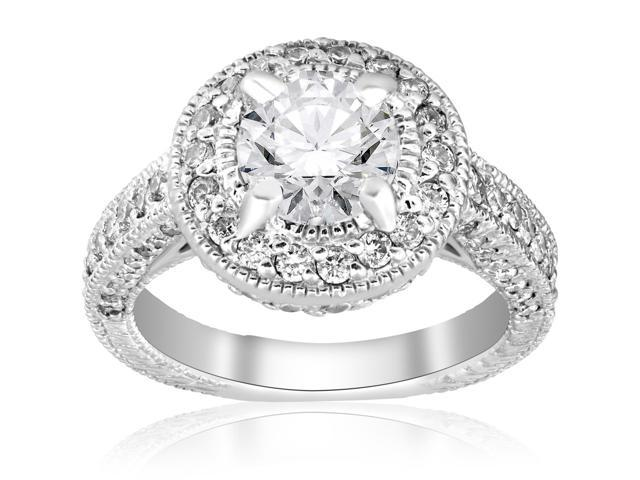 2ct Diamond Halo Vintage Engagement Ring 1ct Ctr Antique 14k White Gold Enhanced
