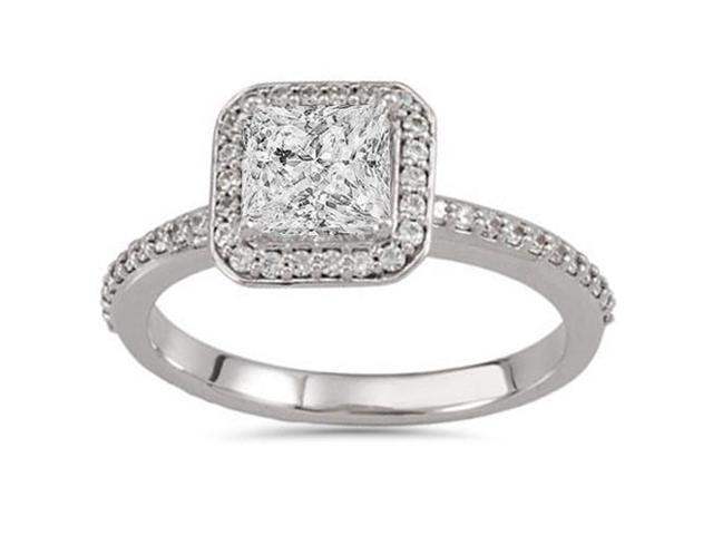 Vintage Princess Cut Enhanced Diamond Engagement Ring 1 1/10 Carat White Gold