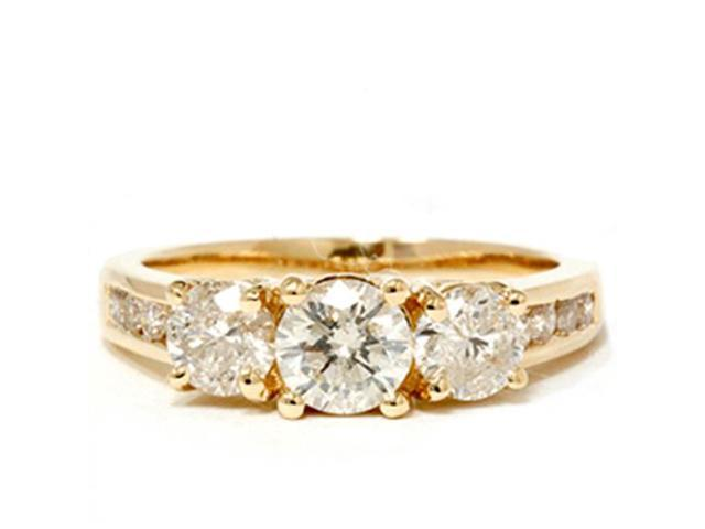 2ct Diamond Three Stone Engagement Ring 14K Yellow Gold Channel Set Round Cut