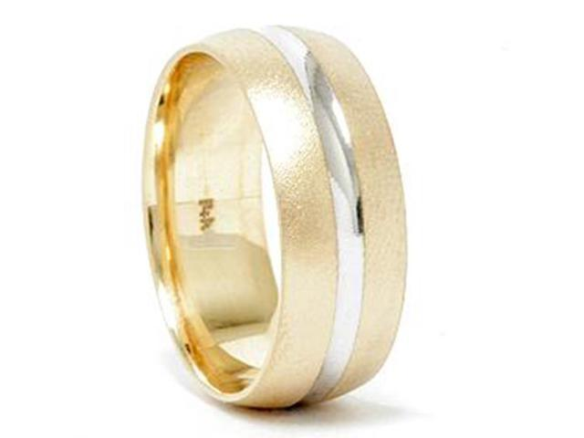 Mens 8mm Two Tone Wedding Band 14K Gold New Ring