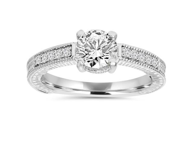 1ct Vintage Diamond Engagment Ring Solid 14K White Gold