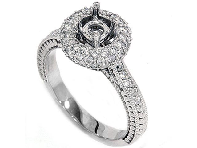 Women's 5/8ct Diamond Engagement Ring Setting14K White Gold Mount